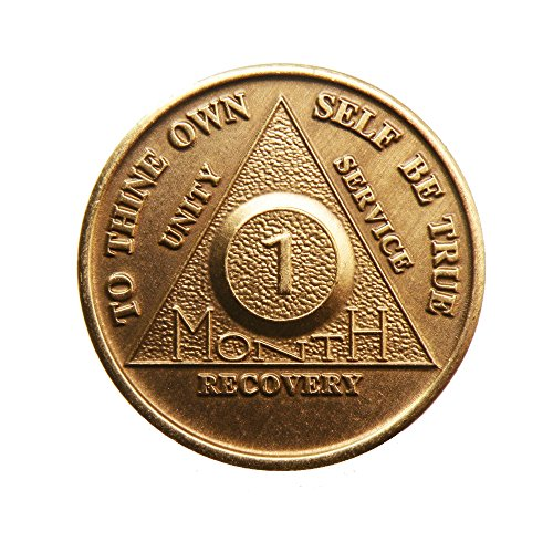 1 Month Bronze AA (Alcoholics Anonymous) - Sober / Sobriety / Birthday / Anniversary / Recovery / Medallion / Coin / Chip - 1