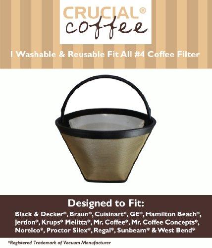 Washable & Reusable Coffee Filter # 4 Cone Fits Black & Decker, Braun, Cuisinart, GE, Hamilton Beach, Jerdon, Krups, Melitta, Mr. Coffee, Mr. Coffee Concepts, Norelco, Proctor Silex, Regal, Sunbeam & West Bend; Designed & Engineered by Crucial Coffee