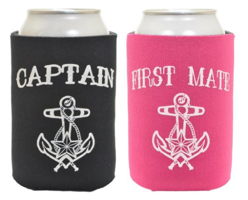 Black Captain And Magenta First Mate 2 Pack Can Coolies front-959608