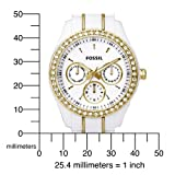 Fossil Women's ES2363 White Resin Bracelet White and Gold Glitz Analog Dial Multifunction Watch