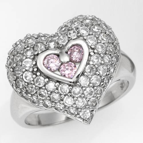 Heart Ring With Cubic zirconia Made of 925 Sterling silver. Total item weight 5.6g (Size 7.5)