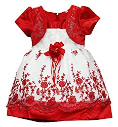 PAPOOSE Cherry Red Frock (PAPSATCHE847_4-5 Years, Red & White, 4-5 Years)