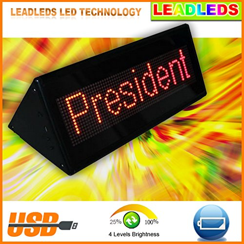 """Leadleds Multifunction Double-Sided Rechargeable Led Scrolling Message Display For Metting Room, Office, Countertop, Tabletop, Showcase - Red Smd - Outline Size L 8.6"""" X H 3"""" X T 3.1"""