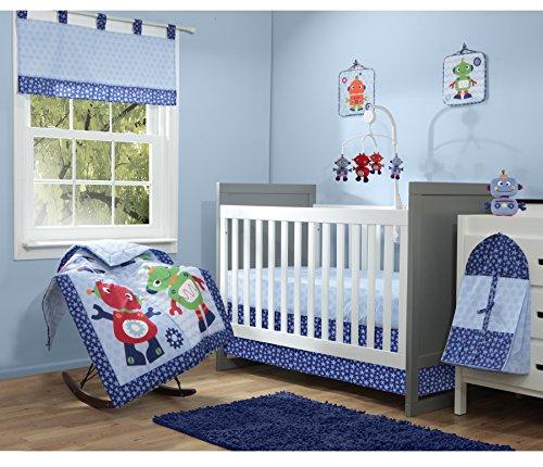 Baby Boom Robot 10 Piece Crib/Nursery Set, Blue - 1
