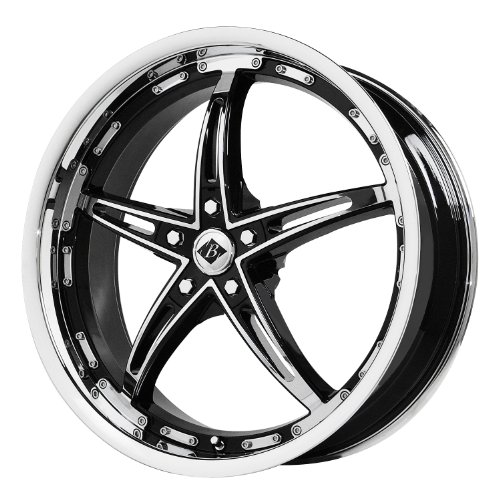 "Black Ice Alloys Mayhem Gloss Black Wheel with Chrome Spoke and Lip (17x7.5""/5x120 mm)"