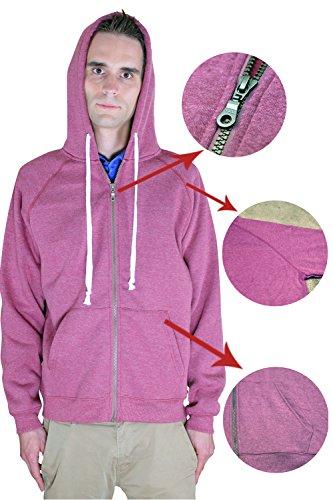 Men's Full Zip Fleece Hooded Hoodie Sweatshirt By Rejawece (XXX-Large, Red)