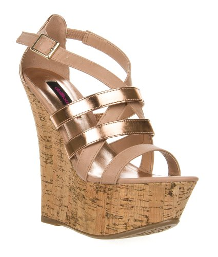 Dollhouse Women'S Strappy Open Toe Cork Platform Wedge Sandal Foreign front-988446