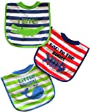 Neat Solutions 3 Pack Applique/ Print Interlock/ Knit Terry Pullover Bib, Boy