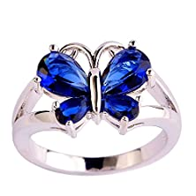buy Psiroy 925 Sterling Silver Stunning Created Gorgeous Women'S 6Mm*4Mm Pear Cut Sapphire Quartz Filled Ring