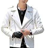 Vergnügen (フェアグニューゲン) メンズ レザー ライダースジャケット ダブル 全4色 S 5XL 流行 バイク ライダース ジャケット コート ハーフコート かっこいい 大人 合わせやすい 黒 ブラック 紺 ネイビー 赤 レッド オレンジ 白 ホワイト (L, ホワイト)