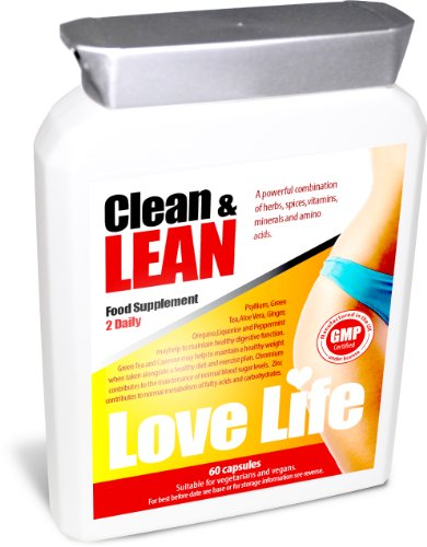 Love Life Clean & Lean | Helps To Burn Fat, Detoxify And Lose Weight | Contains Cla, Green Tea & L-Carnitine | A Powerful Combination Of Herbs, Spices, Vitamins, Minerals And Amino Acids | 60 Capsules | Premium Gmp Supplement