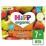 HiPP Orgánica de Apple y de la fresa Puré y Piezas 4 x 100g