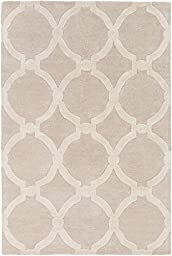 Beige Wool Rug Contemporary Design 2-Foot 3-Inch x 12-Foot Hand-Made Geometric Rings