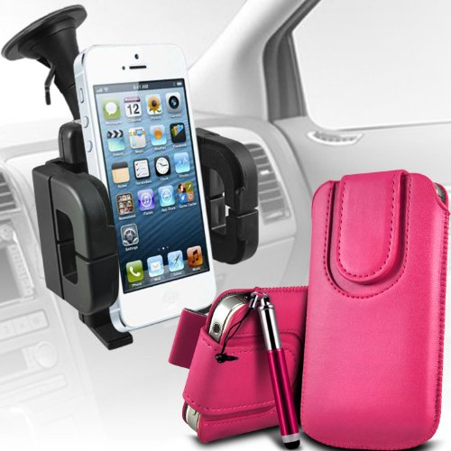 Best  Samsung Galaxy Pocket Neo S55310 Premium Protective PU Leather Magnetic Button Pull Tab Cord Slip In Pouch Pocket Skin Cover Quick With Retractable Stylus pen & Universal Suction Vent Windscreen Car Holder Cradle Hot Pink by Spyrox