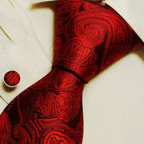 Red Paisleys Great Gift Mens Handmade Silk Pattern Ties Cuff Links Set A1168
