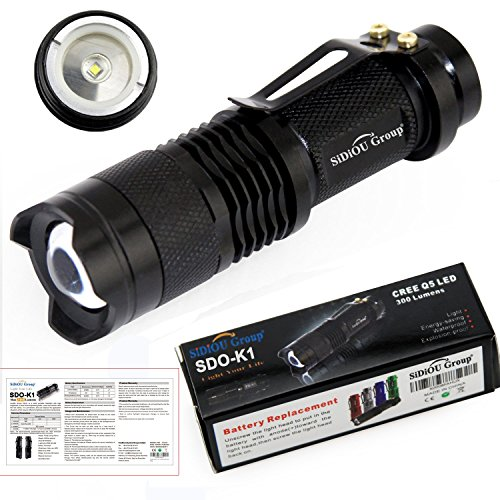 Sidiou Group Mini LED 7W 300lm Linterna CREE Q5 LED Linterna zoom ajustable Foco de luz Lámpara de flash