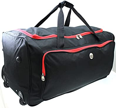 """Extra large 30"""" inch wheeled trolley luggage travel holdall duffel bag black/red"""