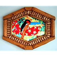 Hawaiian Girl Print in Bamboo Frame