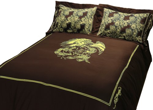Ed Hardy Eagle King Duvet Set, Gold Embroidery on Brown