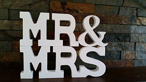 Mariage Lettre Décoration de Fête de Mariage Mr et Mrs, Bois dense, blanc, 3.15 inch