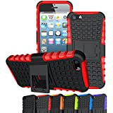 iPhone SE Case, OEAGO iPhone SE Hard Case Cover - Tough Rugged Dual Layer Protective Case with Kickstand for Apple iPhone SE 4.0 inch - Red