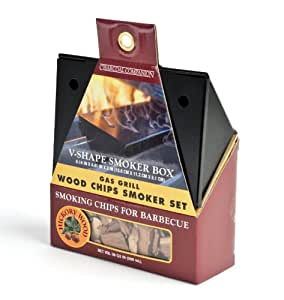 Charcoal Companion CC9412 6-Inch by 4-Inch Non-Stick Gas Grill V-Smoker Box with Mesquite Wood Chips