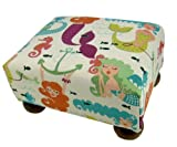 Mermaid Upholstered Footstool Ottoman - Made in the USA