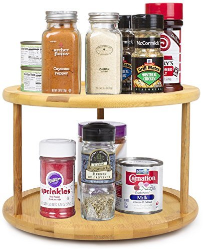 Greenco Premium Bamboo 2 Tier Lazy Susan Turntable (Turning Kitchen Cabinet compare prices)
