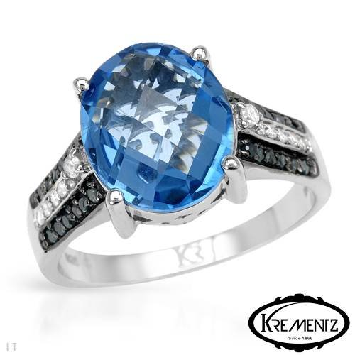KREMENTZ Terrific Cocktail Ring With 5.50ctw Genuine Diamonds and Topaz Beautifully Designed in 925 Sterling silver. Total item weight 5.4g (Size 8)
