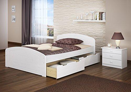 Funktionsbett 160x200 Doppelbett 3 Staukästen Seniorenbett Massivholz Kiefer Weiß 60.50-16 W oR
