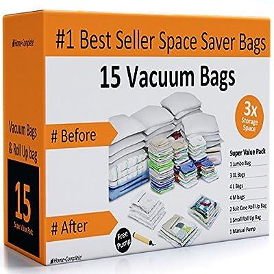 Home-Complete 15 Space Saver Vacuum Storage Bag Bundle