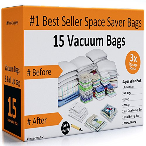 Home-Complete 15 Space Saver Vacuum Storage Bag Bundle