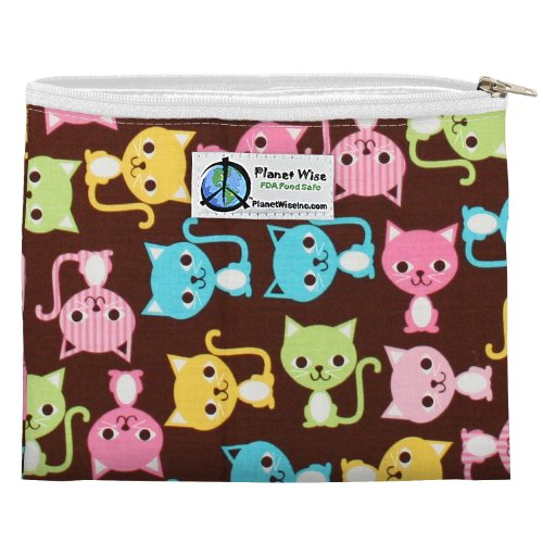 Planet Wise Zipper Sandwich Bag, Kitty Kat - 1