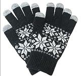 スマホ手袋 TOUCH iPhone iPad スマートフォン タッチパネル対応 5本指用 スノー 全4色 (ブラック)