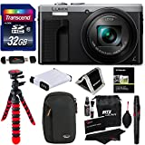 Panasonic ZS60S Lumix 4k Digital Camera 18 MP 24-720mm LEICA DC Lens Silver + Transcend 32 GB Memory Card + Tripod + Battery + Lowepro Case + RitzGear Cleaning Kit + Polaroid Wallet + Accessory Bundle