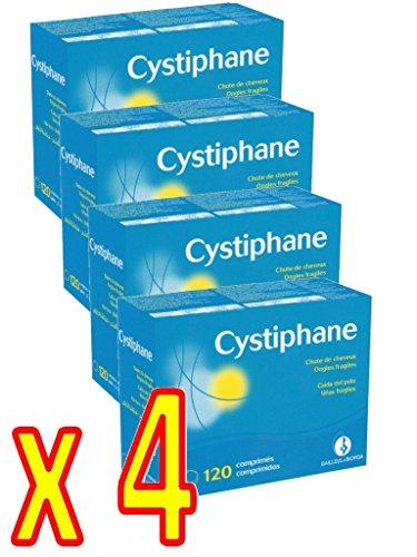 Cystiphane Bailleul- Cystine B6 -Zinc - Arginine - Cheveux et ongles - Santé - Force et Vitalité Protège du stress oxydatif - Complément alimentaire pour cheveux et des ongles fragilisés - Lot de 4 boites de 120 Comprimés 4 Mois