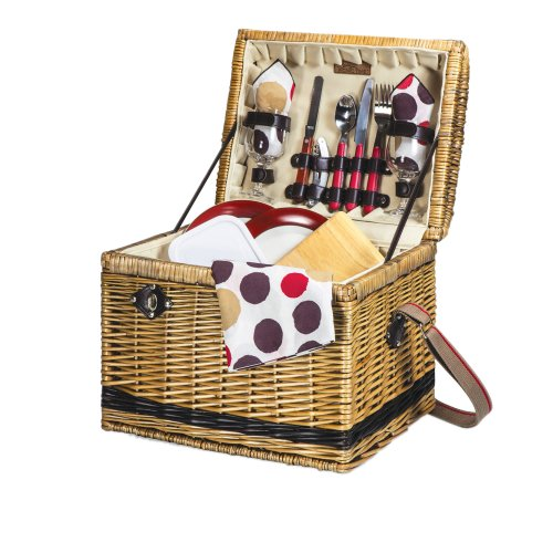 Picnic Time Yellowstone Moka Willow Picnic Basket with Deluxe Service for 2, Brown