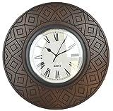Lulu Decor, Rosewood Round Wall Clock, Decorative Wood Wall Clock, Size 16