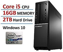 2016 New Edition Lenovo Ideacentre High Performance Flagship Slim Desktop, Intel Core i5 Processor up to 3.4GHz, 16GB DDR3 RAM, 2TB HDD, WiFi, Bluetooth, HDMI, Windows 10