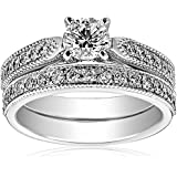 IGI Certified 18k White Gold Round Center Diamond Bridal Ring Set (1 1/7 cttw, H-I Color, SI1-SI2 Clarity)