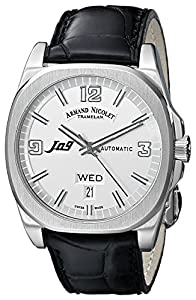 Armand Nicolet J09 9650A-AG-P965NR2 39mm Automatic Stainless Steel Case Black Leather Anti-Reflective Sapphire Men's Watch