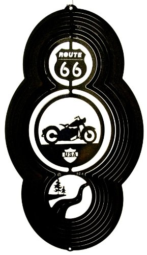 Stainless Steel Wind Spinner, Theme Motorcycle, Black Starlight