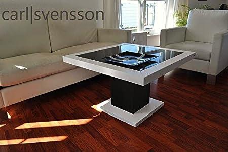 Design Couchtisch S-360 weiß / schwarz mit getöntem Glas Carl Svensson NEU