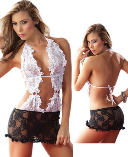 Sexy Elegant Lace Lingerie Set – Black and White Open Back image