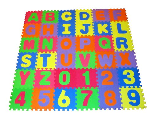"High Quality Educational Puzzle Foam Floor Mat Alphabet Letters & Numbers for Kids - Covers 36 sq ft (12"" x 12"" square blocks)"