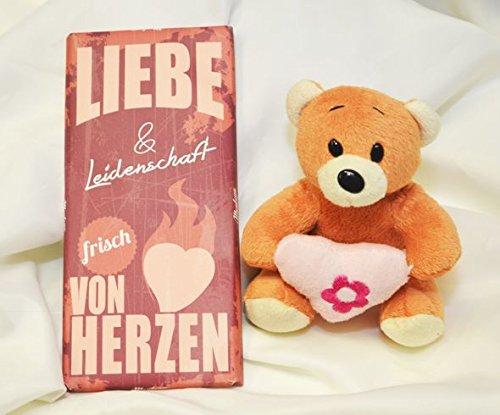 #111- Geschenkset: Plüsch Teddy mit Herz, sortiert,