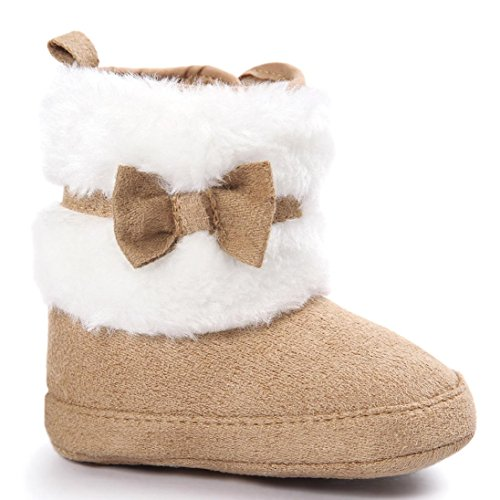 Voberry® Baby Toddler Girls Boys Winter Warm Snow Boot Fur Trimmed Boots Outdoor (12~18Month, Khaki)