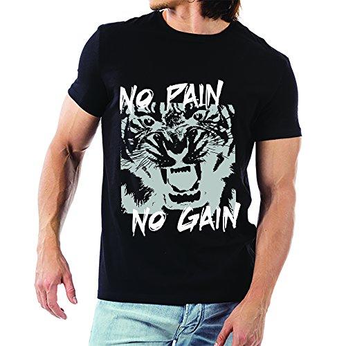 T Shirt Maglia Uomo No Pain No Gain Nera S Cotone Fiammato
