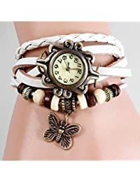 Pappi Boss Vintage Leather Designer White Butterfly Bracelet Casual Analog Watch For Girls, Women