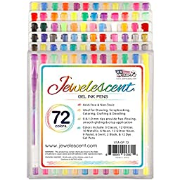 US Art Supply Jewelescent 72 Color Gel Pen Set- Professional Artist Quality Gel Ink Pens in Vibrant Colors - Classic, Glitter, Metallic, Neon, Pastel, Swirl and Dye Colors 100% Satisfaction Guarantee